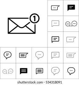 thin line new message, notification  icon on white background, dialog box set