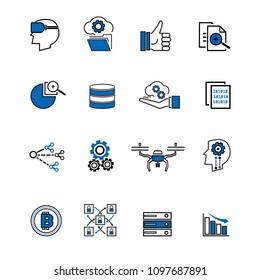 Thin line new Technology trend icon sets. Vector illustation design symbol concept.