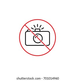 thin line no photo prohibition sign on white background
