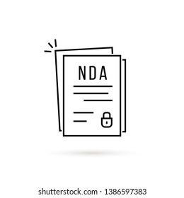 thin line non-disclosure agreement. flat linear style trend modern nda logotype graphic art stroke design isolated on white background. concept of contract between two partners or important doc