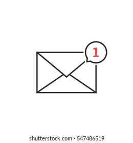 thin line notification icon speech bubble. concept of ui, mailbox, check list, writing incoming, send, data file, 1 one new message. flat style trend modern logotype graphic design on white background