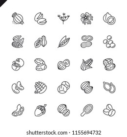 Thin line nuts, seeds and beans elements icons set for website and mobile site and apps. Outline icons design. 48x48 Pixel Perfect. Linear pictogram pack. Vector illustration.