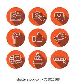 Thin Line Outline Icon Set w Megaphone, Influencer Marketing Person and Representative