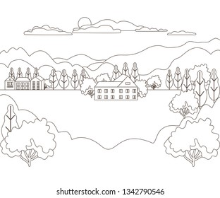 Thin line outline landscape rural farm. Panorama design village modern with mountain, hill, tree, sky, cloud and sun. Line art stile abstract backround, linear vector illustration