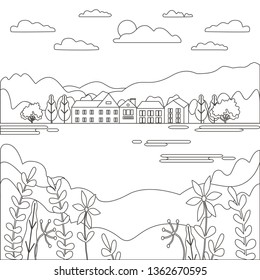 Thin line outline landscape rural farm. Panorama outdoor design village modern with river, hill, tree, sky, cloud and sun. Line art style abstract background, linear vector illustration