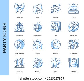 Thin Line Party Related Vector Icons Set for Website and Mobile Site and Apps. Outline icons design. Contains such Icons as Festival, Karaoke, Music and more. Linear Pictogram Pack.