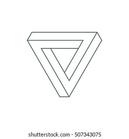 thin line penrose triangle. impossible triangle. sacred geometry. esoteric or science symbol. isolated on white background. vector illustration