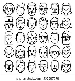 Thin line people icons set. Man and woman characters. Suitable for use in applications, infographics, web, social networks.