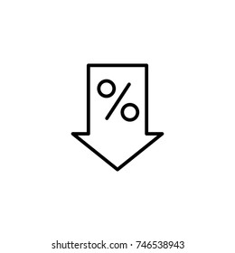 thin line percent down icon on white background
