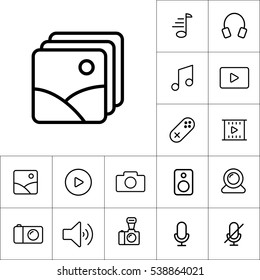 thin line picture, photo gallery icon on white background, multimedia icons set