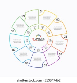 Thin line pie chart infographic template with 9 options. Vector illustration.
