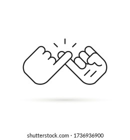 thin line pinky promise like swear icon. stroke style trend modern simple logotype graphic lineart art design isolated on white background. concept of trust or friendship with little finger