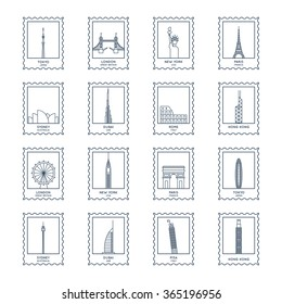 thin line postage stamps vector set. different famous landmarks