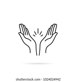 thin line prayer hands or applause. concept of clapping arms like command work and good evaluation or cool assessment. contour flat style minimal logotype graphic stroke art design isolated on white