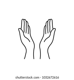 thin line prayer hands black icon. flat contour style sign islam dua logotype stroke graphic art design isolated on white background. concept of woman body language like mercy or pray in ramadan