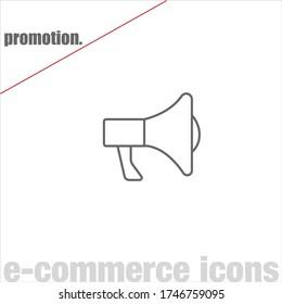 Thin line promotion vector on white background. Minimalist e-commerce icons. Simple web symbols. Editable stroke. Eps 10.