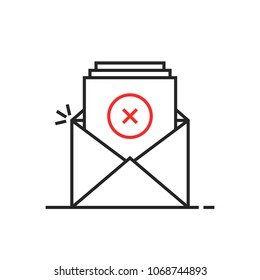 thin line rejection email logo. stroke flat trend unsubscribe logotype graphic art simple design isolated on white. concept of new message with dangerous content or mailbox with pile of checklist