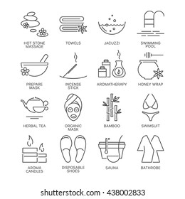 Thin line relaxation spa therapy icons set isolated on white background. Web graphics simple mono outline symbol collection. Premium quality linear stroke vector logo concept pictogram pack.
