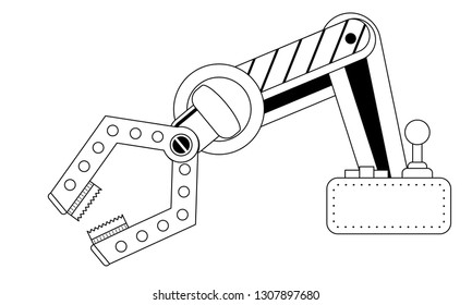 thin line Robotic Claw and machine control on a white background. Outline stroke Grip robotic claw in factory. Cartoon concept colorful Vector illustration of the claw game device.