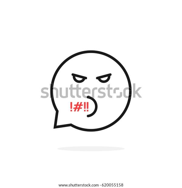 Thin Line Rude Emoji Speech Bubble Stock Vector (Royalty