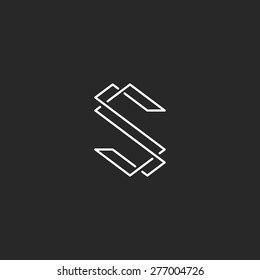 Thin line S letter mockup initials logo, elegant monogram for business card hipster SS emblem.
