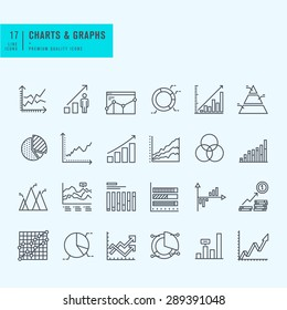 Thin line set of charts, graphs and diagrams