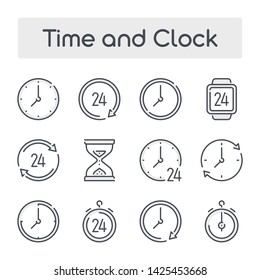Thin Line Set with Gray Shades of Time and Clock related vector icons.