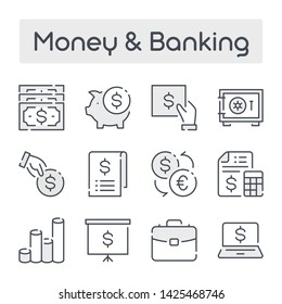 Thin Line Set with Gray Shades of Money and Banking related vector icons.