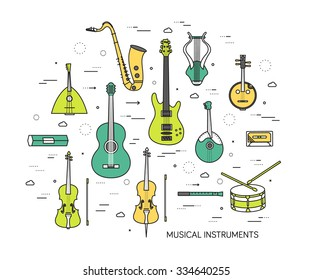 Thin line set of musical instruments modern illustration concept. Infographic way from melody to concert. Icons on background. Flat vector template design for web and mobile application