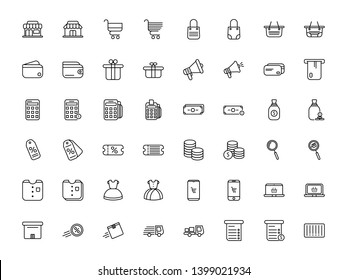 Thin line shopping icons set, E-commerce, vector illustration. market, trolley, cart, wallet, money, tote bag, calculator, dress, cloth, search icon, atm, atm card, discount, truck, shipping