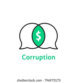 thin line simple corruption logo. linear flat style trend modern secret treaty logotype graphic art design isolated on white. concept of discussion of bribery by criminals or anticorruption message