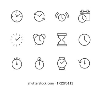 Thin line simple Icon set related to Time