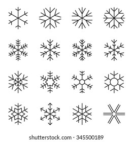 Thin line simple snowflake icons. Symbols of winter, frost, snow, freezer, refrigerator, frozen food. Vector illustration