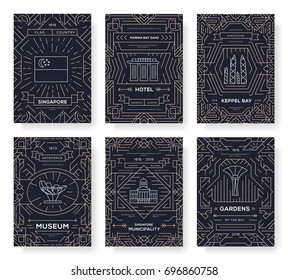 thin line Singapore travel vacation guide concept. Art architecture, magazine, book, poster, abstract, banners, element. Vector traditional ethnic outline package greeting card or invitation brochure.