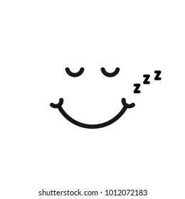 thin line sleep emoji logo like snoring. concept of narcolepsy smiley or abstract goodnight label. linear cartoon flat style trend modern zzzz emogi logotype graphic art design isolated on white