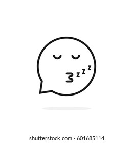 thin line sleeping emoji speech bubble logo. concept of character sticker, somnolent person, web simple circle sign, rest, slumbery. flat style trend modern logotype graphic design on white background
