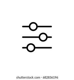 thin line slider bar, eq, icon on white background