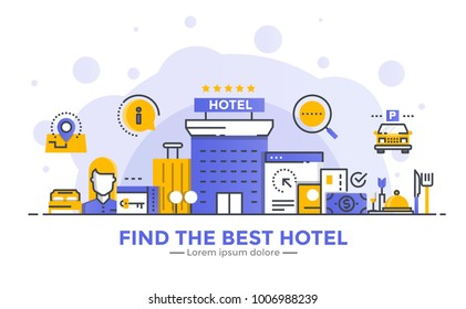 Thin line smooth gradient flat design banner of Find the best hotel for website and mobile website, easy to use and highly customizable. Modern vector concept, isolated on white background.