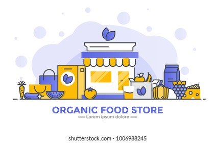 Thin line smooth gradient flat design banner of Organic Food Store for website and mobile website, easy to use and highly customizable. Modern vector illustration concept, isolated on white background