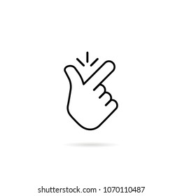 thin line snap finger like easy logo. concept of female or male make flicking fingers and popular gesturing. linear abstract trend simple okey logotype graphic design isolated on white background