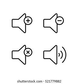 thin line speaker volume icon on white background