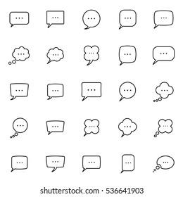 thin line speech, bubble, dialog box icons set