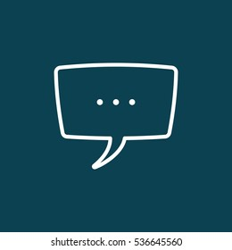 thin line speech, bubble, dialog box icon on blue background