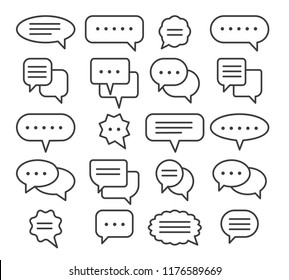 Thin line speech bubble icons. Vector line plain speak bubbles, chat conversation or text comment signs