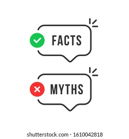 thin line speech bubbles with facts and myths. flat stroke style trend modern logotype graphic art design isolated on white background. concept of thorough fact-checking or easy compare evidence