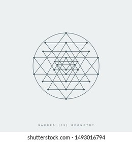 thin line sri yantra mandala. outline symbol of hindu tantra. lineart sri chakra. sacred geometry. linear esoteric or spiritual logo. editable stroke. isolated on white background. vector illustration