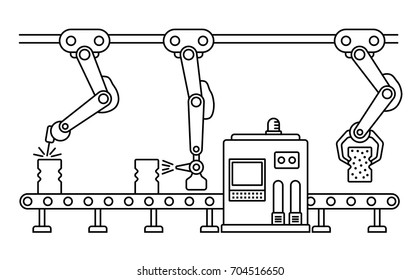 Thin line style assembly line. Automatic production conveyor. Robotic industry concept. Vector illustration.