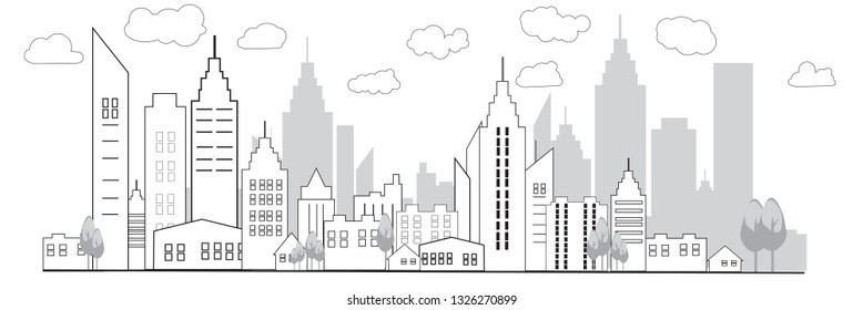 Thin line style city panorama of urban landscape  skyline city office buildings on light background. Outline cityscape. Wide horizontal panorama. Vector illustration EPS 10.
