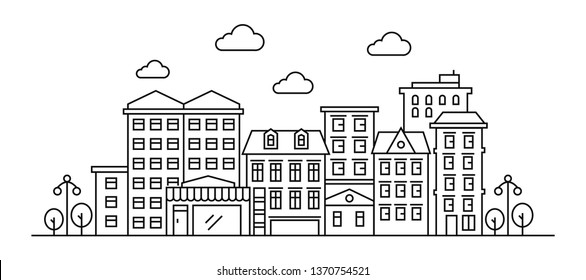 Thin line style city panorama of urban landscape skyline city office buildings. Outline cityscape. Wide horizontal panorama.