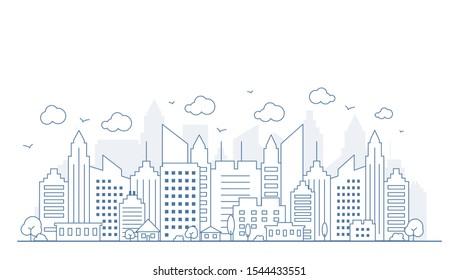 Vue panoramique sur la ville de style linéaire mince. Illustration d'une rue de paysage urbain avec des voitures, immeubles de bureaux de ville horizontaux, sur fond clair. Décrire le paysage urbain. Panorama horizontal large. Illustration vectorielle